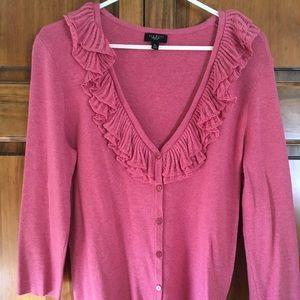Talbots mauve pink ruffle cardigan sweater